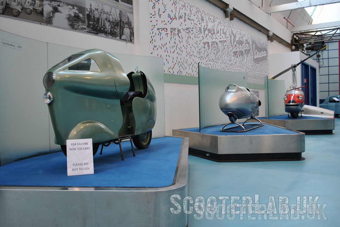 The Vespa Montlhery racer from 1950, and the Vespa Siluro from 1951, both world record breakers.