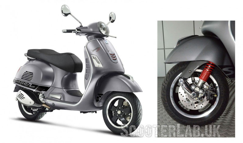 The 2015 Vespa GTS with revised suspension, the first real change to this area since the GS160.