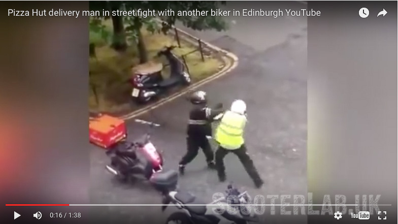 Pizza Hit – road rage scooter fight | VIDEO