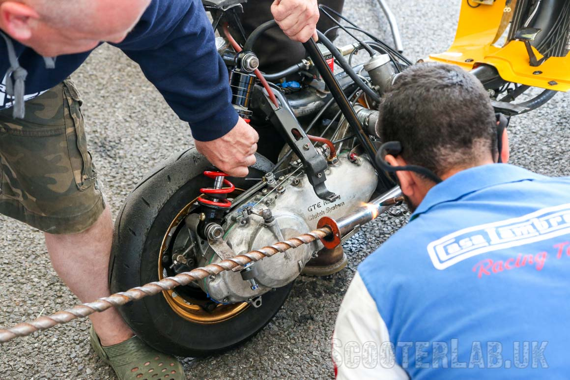 The gas bottles come in handy to realign Stuart Day's SRP race exhaust