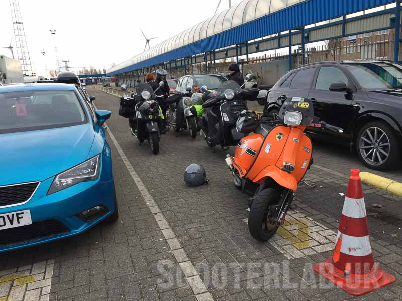 The Hull to Rotterdam ferry queue with a few other winter riders