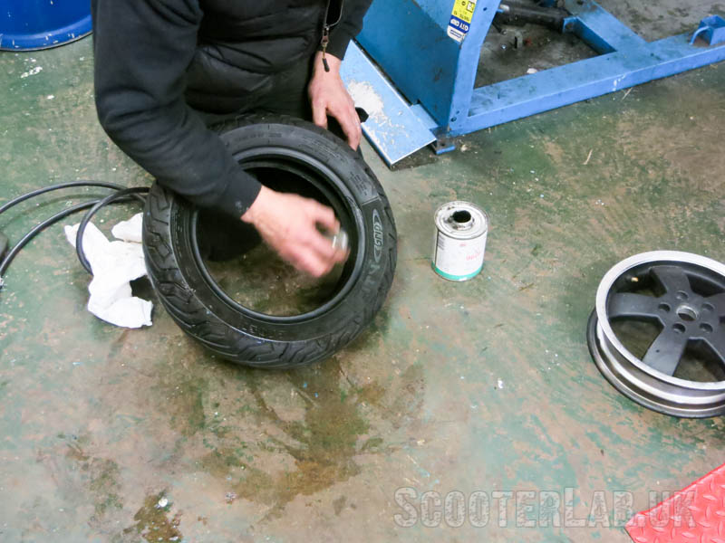 Then coat the bead edges of the tyre