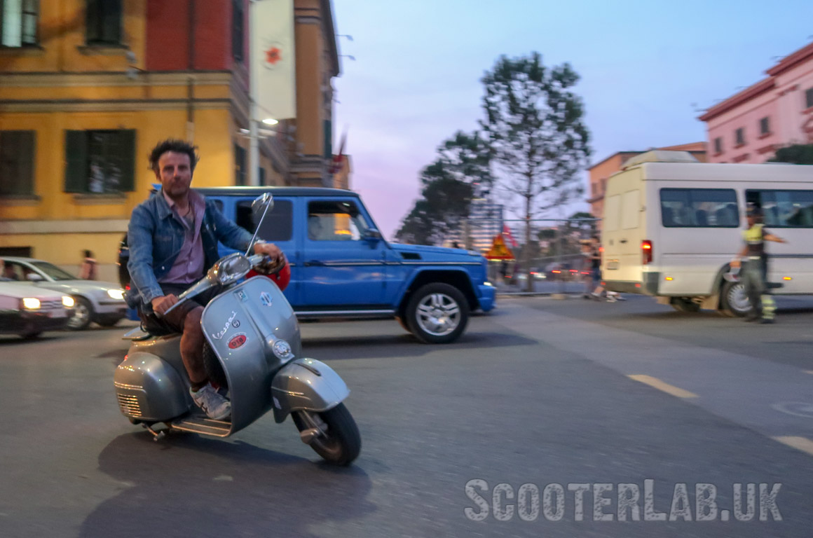 Helmetless in Tirana: Standard procedure for a capital city - the drivers are impatient and quite mental.