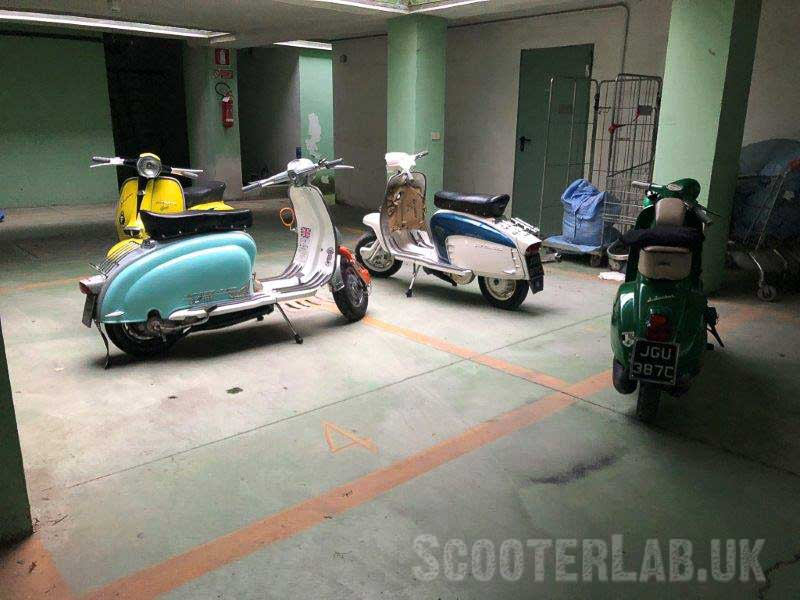Underground car parks are great for keeping out of the heat whilst mending scooters