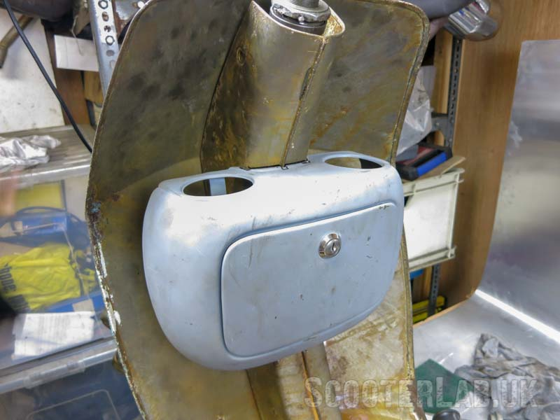 Lambretta D toolbox roughly positioned