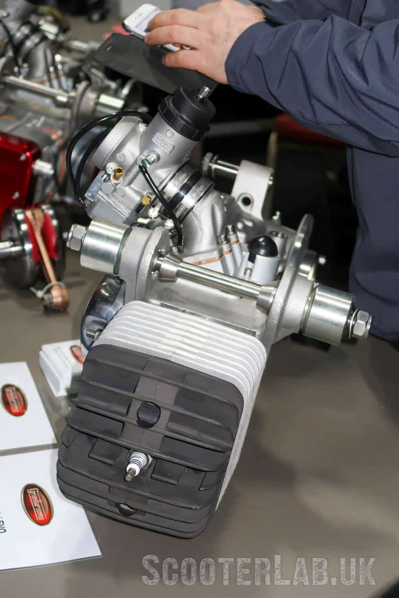 Air-cooled GT engine modified to accept the Simonini 230cc paraglider kit: a cheaper and easier conversion than the Rotax.