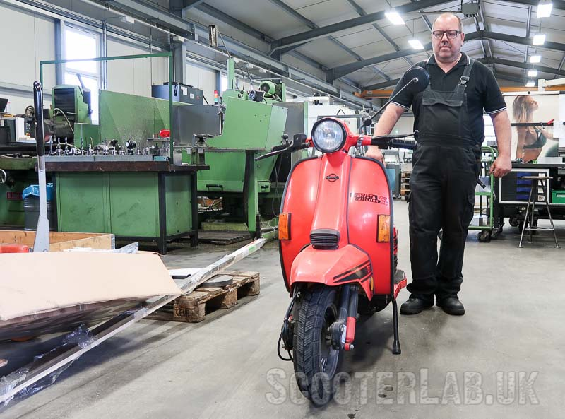 CNC-wizard Harald Grillhiesl with his fuel-injected 260cc Serveta