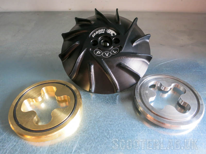 For the lightweight PVL race ignition, Fabio also makes a special fan with interchangeable steel or brass weights to suit