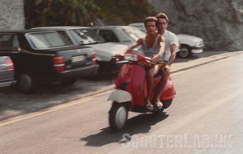 Holiday snap of two Italians riding an as yet unseen Vespa T5